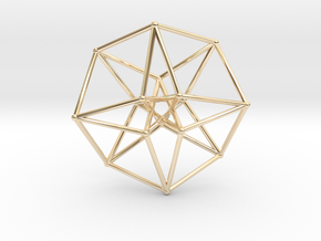 Toroidal Hypercube 35mm 1mm Time Traveller in 14K Yellow Gold