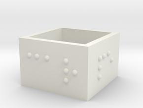 squareRing_CarpeDiem_19mmx15mm in White Natural Versatile Plastic