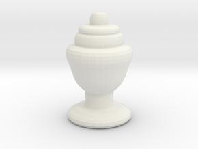 Chess Piece Rhino Rook in White Natural Versatile Plastic