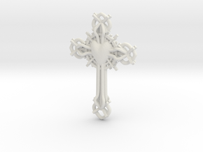 Baroque Cross in White Natural Versatile Plastic