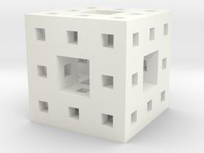 """1"""" menger sponge in White Strong & Flexible Polished"""