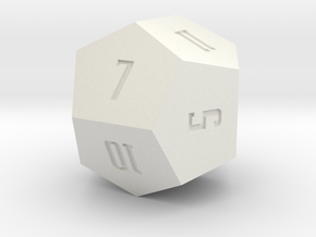 Irregular d12 in White Natural Versatile Plastic