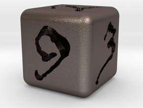 Hollow #'d Dice in Polished Bronzed Silver Steel