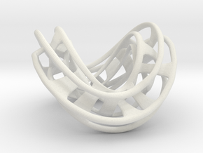 Mobius Hexagon Linkage in White Natural Versatile Plastic