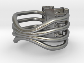 V8 ENGINE RING in Natural Silver