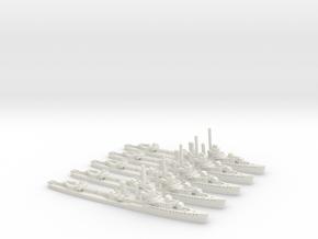 USS Monaghan (Farragut class) 1:1800 x5 in White Natural Versatile Plastic