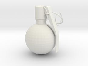 U.S. Army M67 granade pendant in White Natural Versatile Plastic