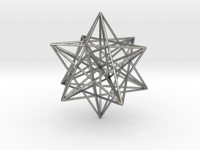 Stellated Dodecahedron with axes - 50mm in Natural Silver
