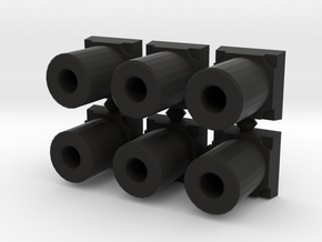5mm pegs with base (x6) in Black Strong & Flexible