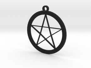 Pentagram Necklace in Black Natural Versatile Plastic