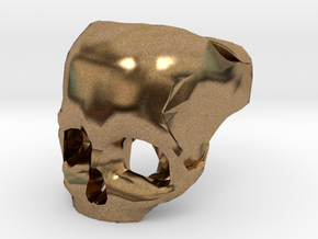 Skull Ring US 6 in Natural Brass