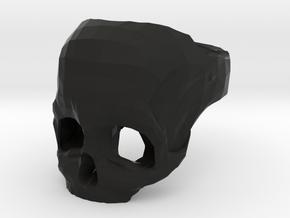 Skull Ring US 11 in Black Natural Versatile Plastic