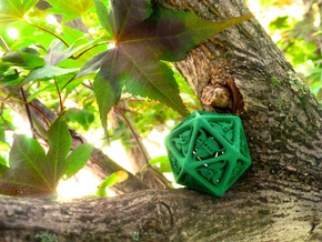 Tengwar Elvish D20 in Green Processed Versatile Plastic: Small
