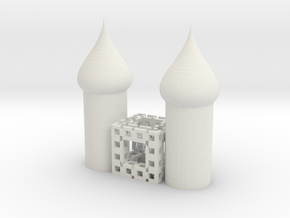 Fractal 444 cube cathedral in White Natural Versatile Plastic