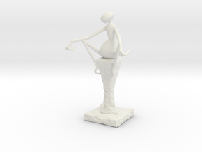 Abstract Figurine in White Natural Versatile Plastic