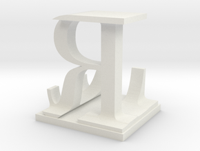 Two way letter / initial L&R in White Natural Versatile Plastic
