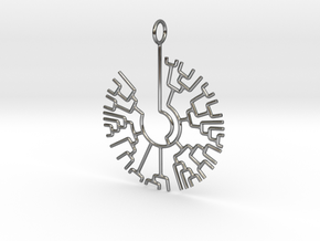 Phylogenetic Tree pendant: science jewelry in Fine Detail Polished Silver