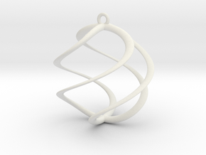 Spiral Pendant 1 in White Natural Versatile Plastic