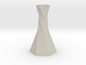 Twisted Hex Vase in Natural Sandstone