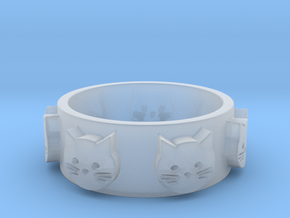 Ring of Seven Cats Ring Size 7.5 in Smooth Fine Detail Plastic