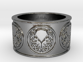 Ph'nglui mglw'nafh Cthulhu R'lyeh Ring #1, Size 12 in Fine Detail Polished Silver