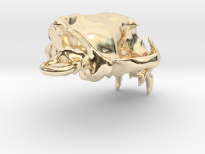 Cougar skull pendant in 14K Yellow Gold