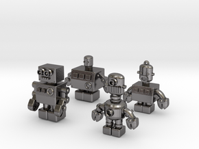 3D Printing Retro Robots Collection in Polished Nickel Steel