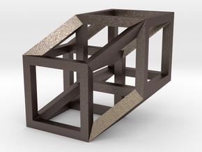 Hypercube in Polished Bronzed Silver Steel