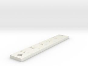 Ruler Mini (Keyring) in White Natural Versatile Plastic