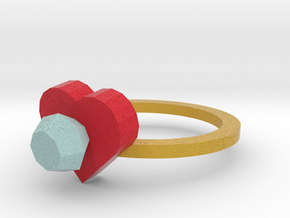 diamond Heart Ring 2 in Full Color Sandstone