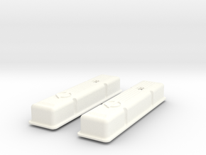 1/8 SBC Half Finned Valve Covers in White Processed Versatile Plastic