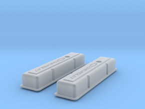 1/12 SBC Chevy Logo Valve Covers in Smooth Fine Detail Plastic