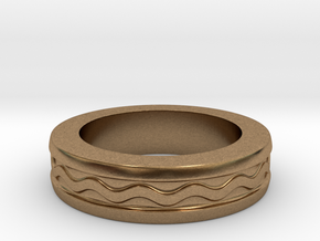 Men's Size 10 US Wave Ring in Natural Brass