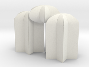 3Stardomes in White Natural Versatile Plastic