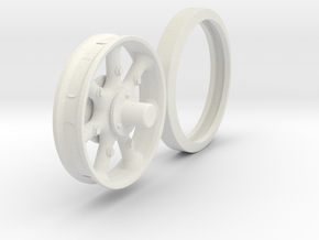 Mack Truck Wheel (Narrow) in White Natural Versatile Plastic