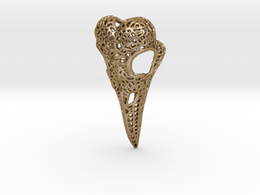 Filigree Raven Skull in Polished Gold Steel