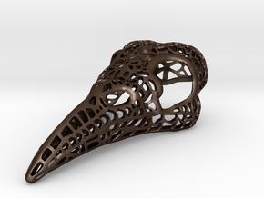Filigree Raven Skull - LARGE in Matte Bronze Steel