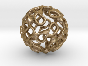 Gyroid Inversion Sphere in Polished Gold Steel