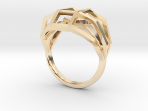 Geometry Caged Love Ring - My Heart Is In A Cage - in 14K Yellow Gold
