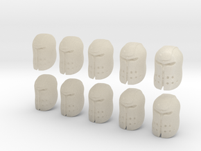 10 28mm Large Ogre Helmets in White Acrylic