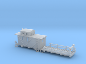 Caboose MOW 50 Ft Flat Car 2 in Smooth Fine Detail Plastic