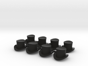 28mm Top hats (x8) in Black Natural Versatile Plastic