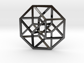 4D Hypercube (Tesseract) small in Matte Black Steel