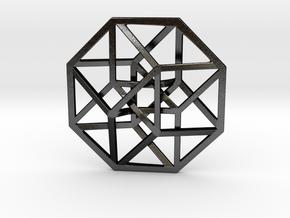 4D Hypercube (Tesseract) small in Matte Black Steel