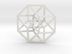 4D Hypercube (Tesseract) small in White Strong & Flexible