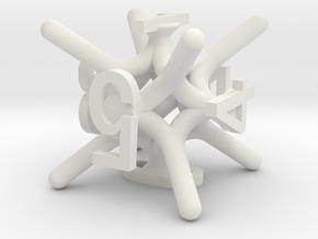 Jax d6 Dice in White Natural Versatile Plastic