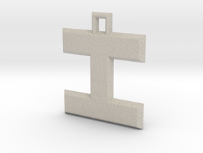ABC Pendant - I Type - Solid - 24x24x3 mm in Natural Sandstone