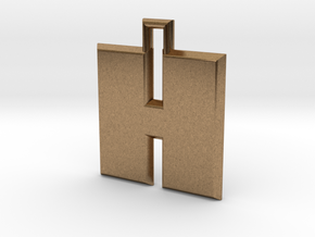 ABC Pendant - H Type - Solid - 24x24x3 mm in Natural Brass