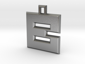 ABC Pendant - B Type - Solid - 24x24x3 mm in Natural Silver