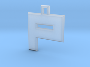 ABC Pendant - P Type - Solid - 24x24x3 mm in Smooth Fine Detail Plastic